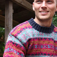Retro Faroese Sweater (blau pink)
